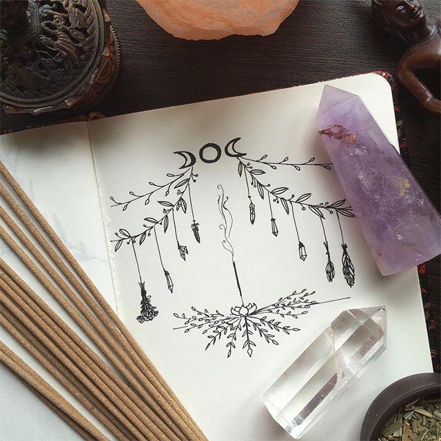Full moon is coming 🌖🌕🌔/ Жутко не выспалась, почеркушки и благовония бодрят и помогают сосредоточиться. (Хипстер_мод_он) Народ, а вы живёте по лунному циклу или игнорируете эту идею? #почеркушки #хипстер #drawing #fullmoon #mooncycle #crystals
