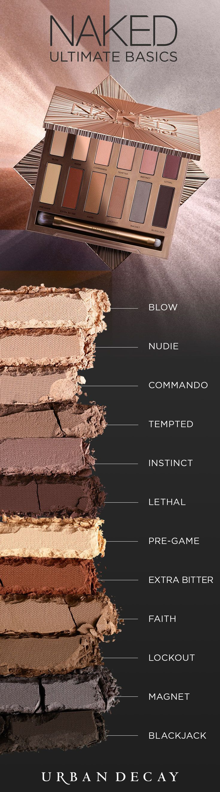 Introducing Naked Ultimate Basics—the matte eyeshadow palette you've been begging for! This sleek square case is loaded with 12 ALL-NEW, must-have neutrals. Every single one is not only new, but also exclusive to this palette! Make it yours now at http://urbandecay.com. #YouLookBetterNaked