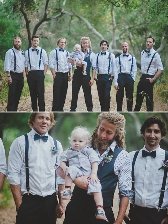 white and blue striped and polka dotted groomsmen