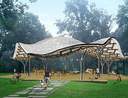 Shigeru Ban Architects Forest Park Pavilion Park