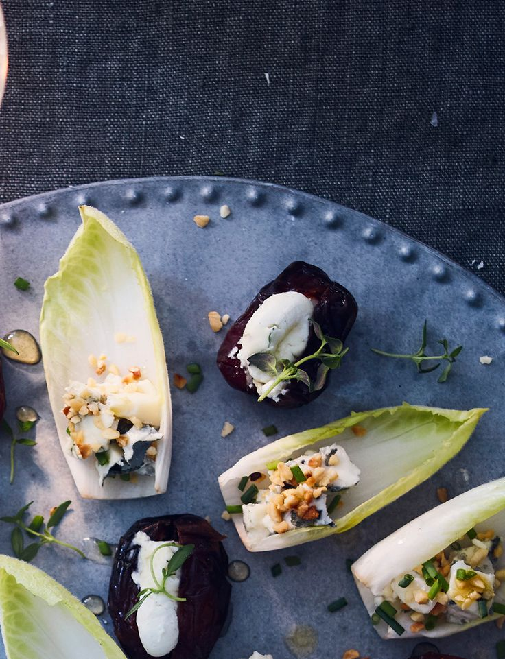 You won't be able to resist these moresih chicory 'boats' with blue cheese and hazelnuts recipe is an easy party canapé that's ready in just 15 mins