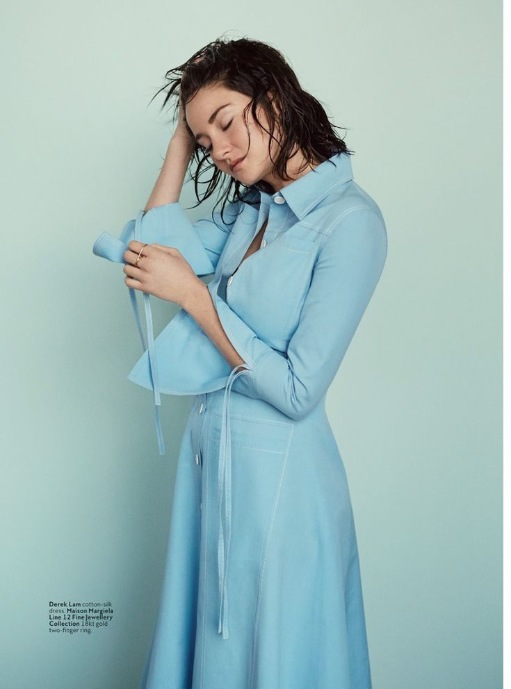 Shailene Woodley poses in a blue cotton silk dress for InStyle Magazine March 2016 issue