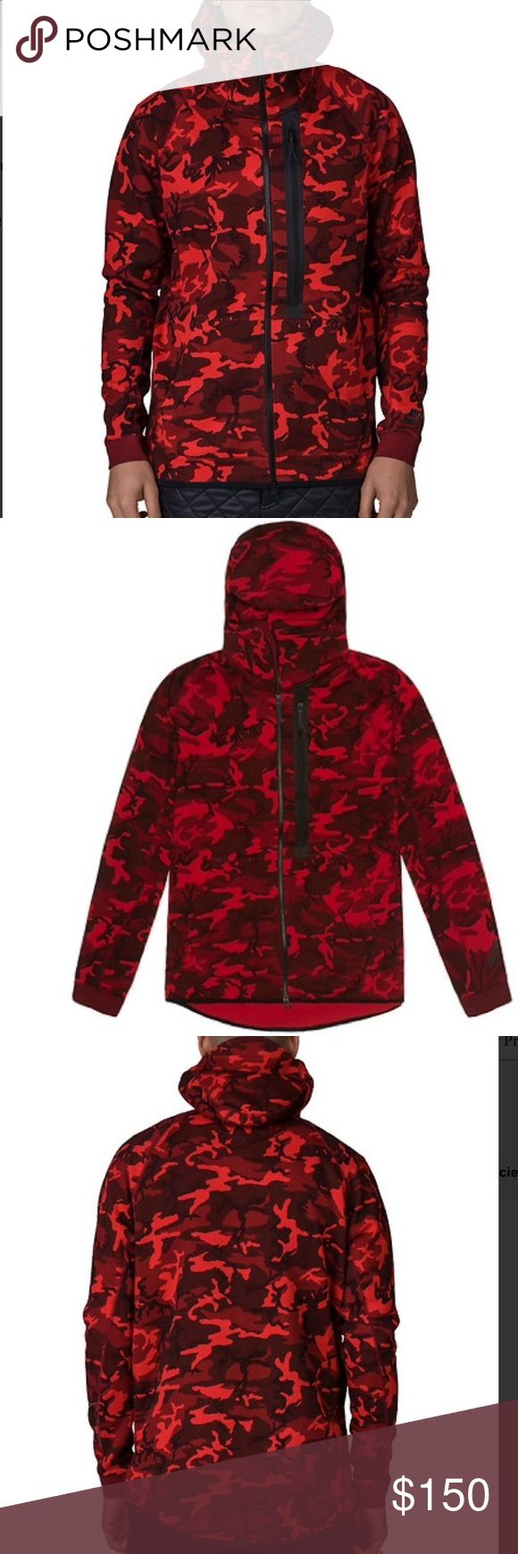 Nike Red Tech Fleece Full Zip Camo Hoodie Sweater NIKE  Tech fleece full zip camouflage hoodie  Long sleeves  All-over camo print  Full zip closure  3 front pockets  Stretch cotton fabric for ultimate comfort  Adjustable pull cord on hood Nike Jackets & Coats Performance Jackets