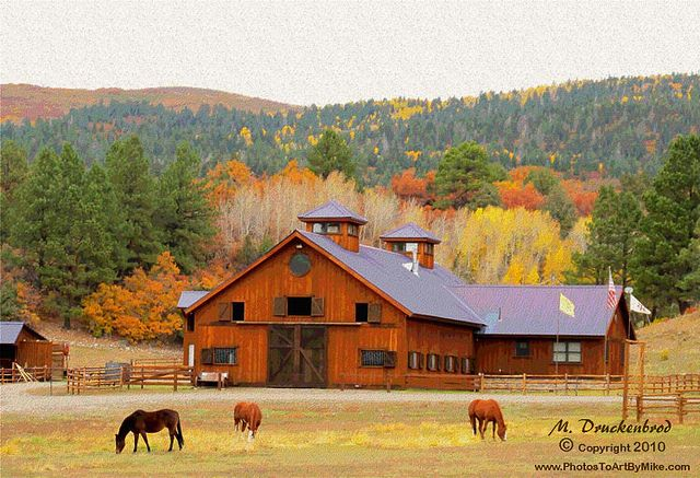 Horse farm in Northern New Mexico by PhotosToArtByMike, via Flickr