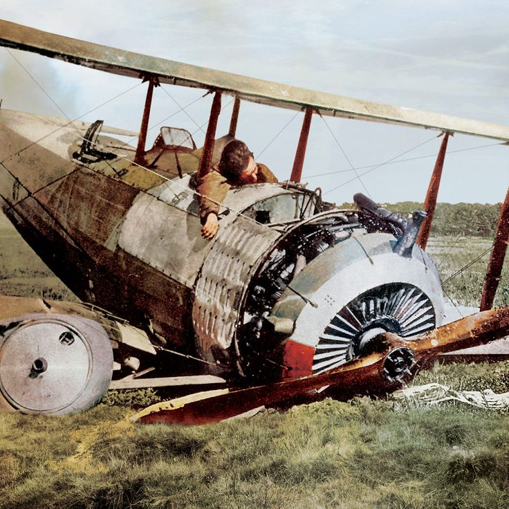 Dead French pilot in cockpit of his downed Salmson 2A2, 1917 . . .