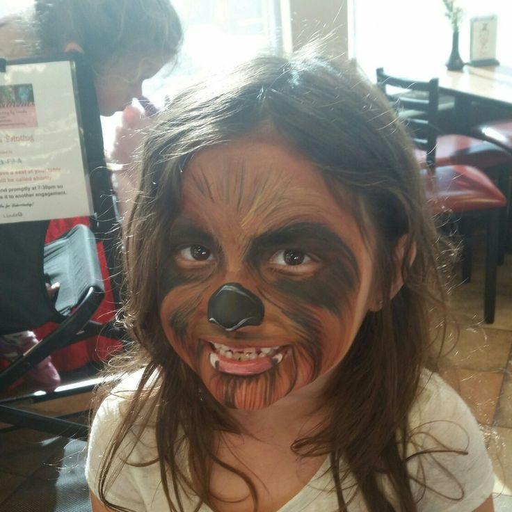Chewbacca Face Painting Design by Linda Schrenk #amazingfacepaintingbylinda  http://psalmbook.wix.com/lindas-face-painting  face panting jacksonville florida