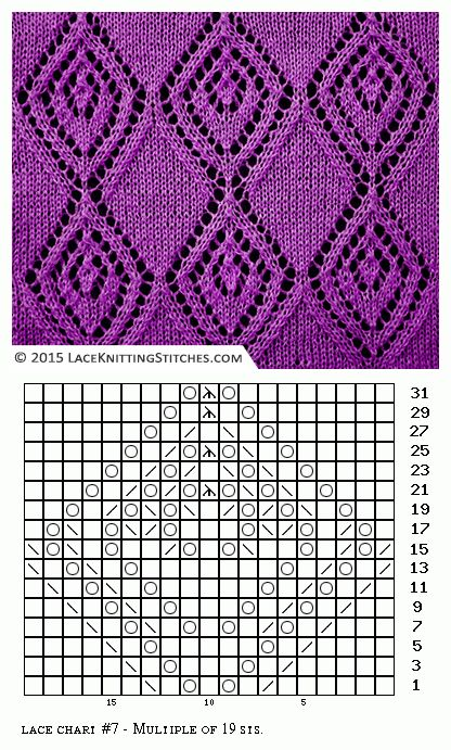 Lace knitting. Free chart 7
