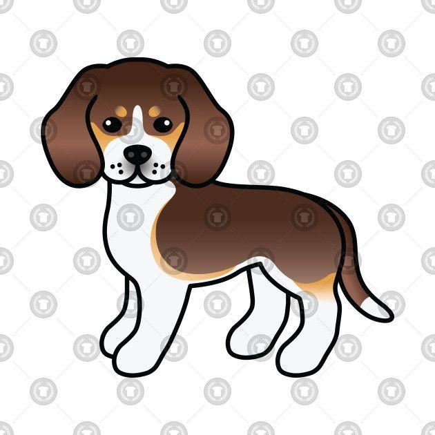 Chocolate Tricolor Beagle Dog Cute Cartoon Illustration T Shirt