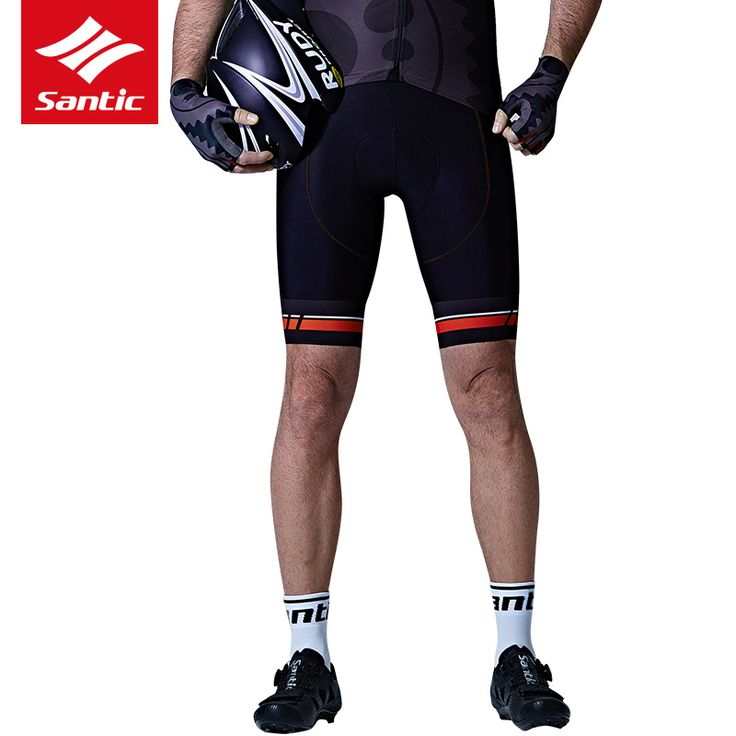 Santic Cycling Shorts Men Coolmax 4D cushion pad Shorts Shockproof MTB Road Bike Pro Shorts Reflective ciclismo Short Panti