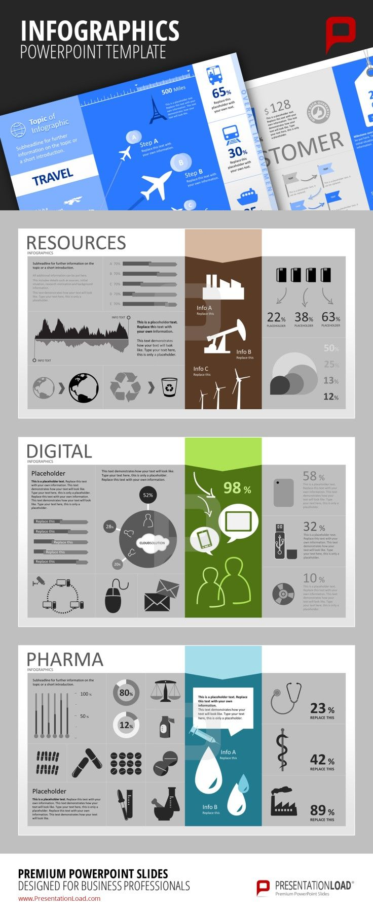 Infographic PowerPoint Templates Use our templates to provide your audience with useful infographics about resources like raw materials, digital infrastructure like cloud solutions or pharma related topics like the use of medication. #presentationload www.presentationl...