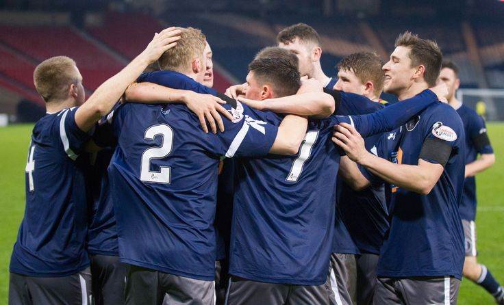 Queen's Park players celebrate Ross Millen's opening goal during the Ladbrokes League One game between Queen's Park and Brechin City.