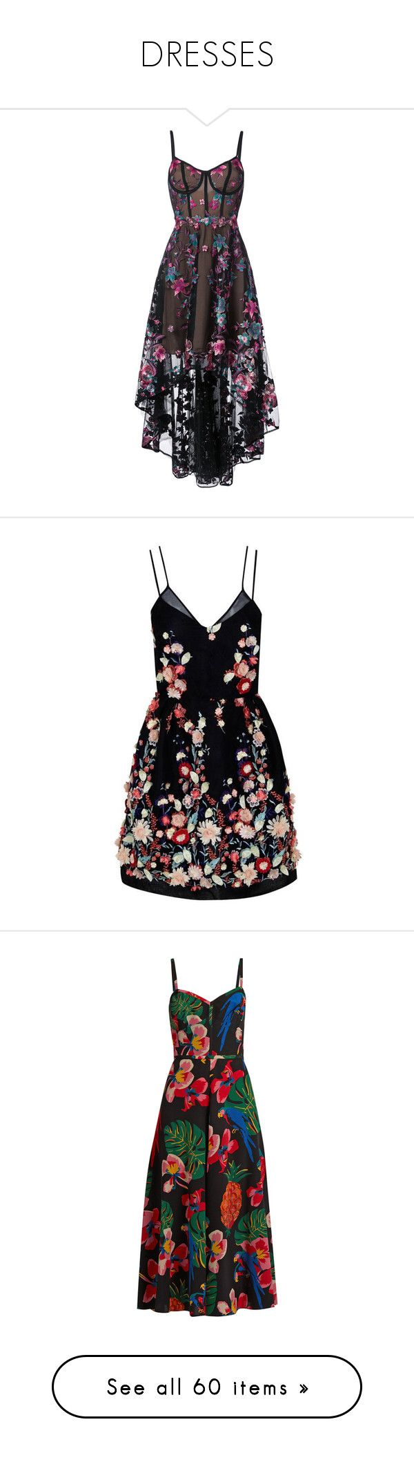 """DRESSES"" by seasweethome ❤ liked on Polyvore featuring dresses, gowns, vestidos, black, circle skirt, high low evening gowns, high low evening dresses, embroidered dress, floral embroidered gown and short dresses"