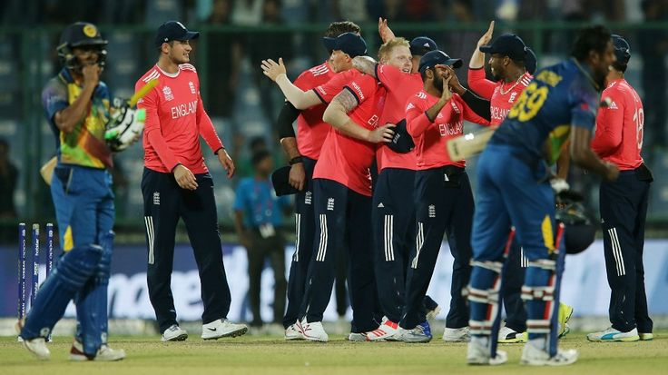 England players celebrate their win while Sri Lanka's players come to terms with their defeat, World T20 2016, Group 1, Delhi, March 26, 2016