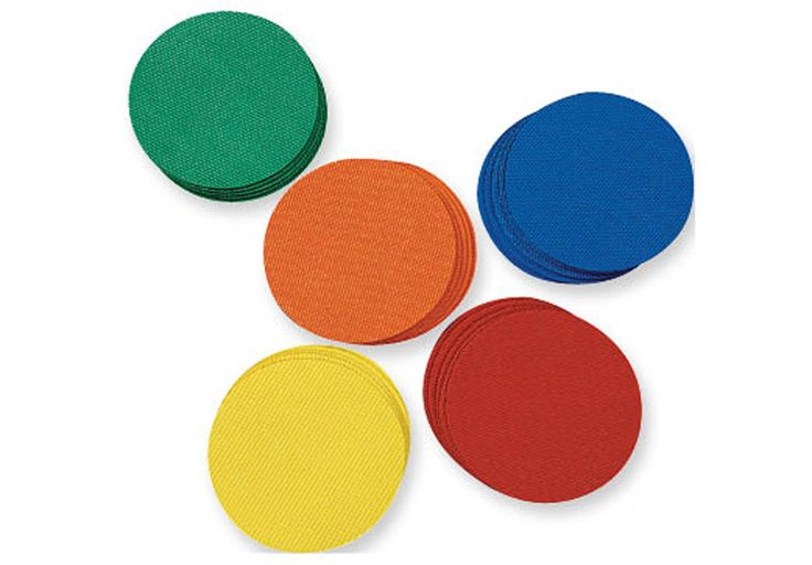 """MUSICAL DOT SPOTS - 35 non-skid rubber dots, 7 each of 5 colors (colors vary).  3.5"""" diameter.  Play circle games such as Pass the Ball (pass the ball in a circle to the beat and when the music randomly stops the person holding the ball is out). Instead of musical chairs, play Musical Dot Spots.  Organize kids into teams, groups, or formations by color to save time, eliminate the """"shrinking game circle"""", block stage positions and dance choreography, and more."""
