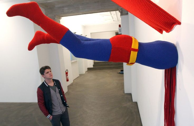 """The knitted sculpture """"Superman"""" by Patricia Waller"""