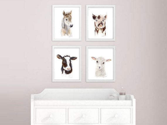 Baby Animal Prints Farm Nursery Art Print Set by TinyToesDesign @projectnursery #expectingmoms #nurseryart