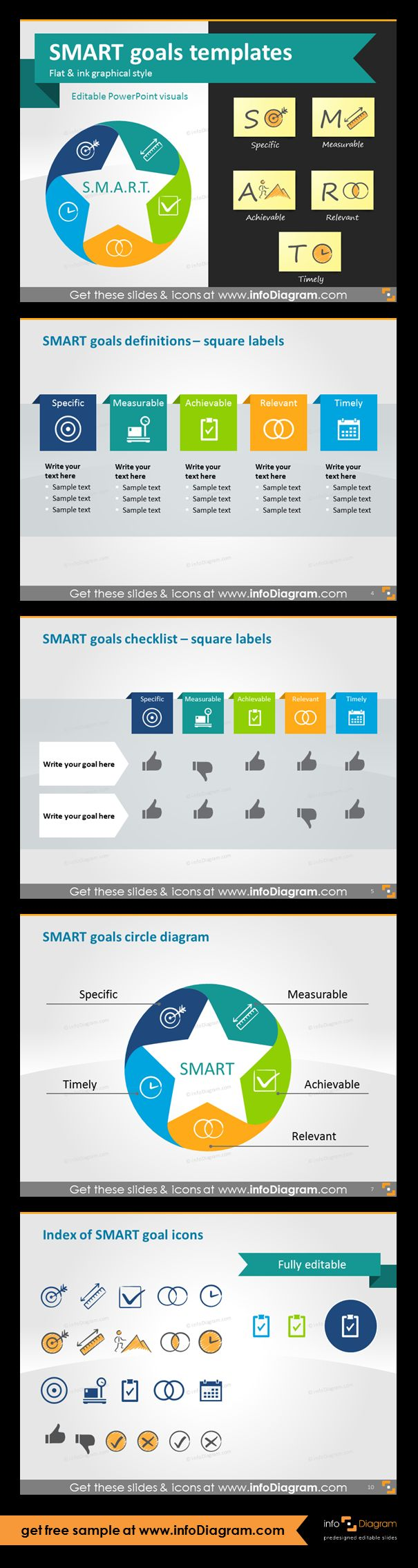 SMART goals setting graphics for business presentations. SMART goals are used in project management, in HR for increasing employee performance, business planning or personal development. Using SMART is a powerful motivation tool. SMART goals definitions and checklist with square labels, SMART goals circle diagram, index of 13 fully editable icons for all five SMART characteristics in two graphical styles.
