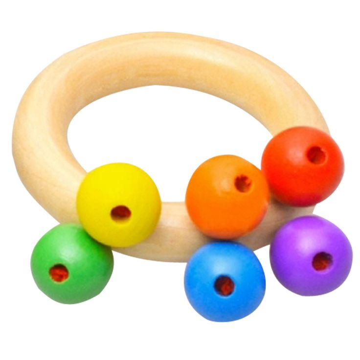 1pcs Baby Toys Wooden Bell Rattle Toy Handbell Musical Educational Instrument Toddlers Rattles Handle Baby Toy