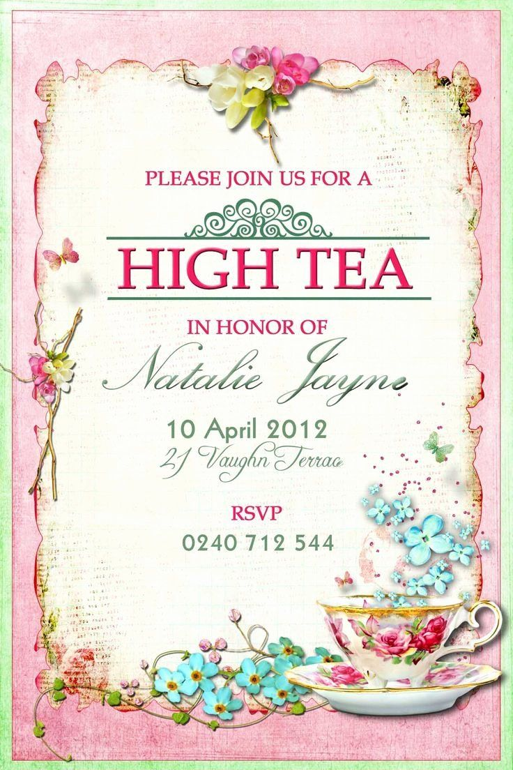 3 Victorian Tea Party Invitation Template - Simple Template