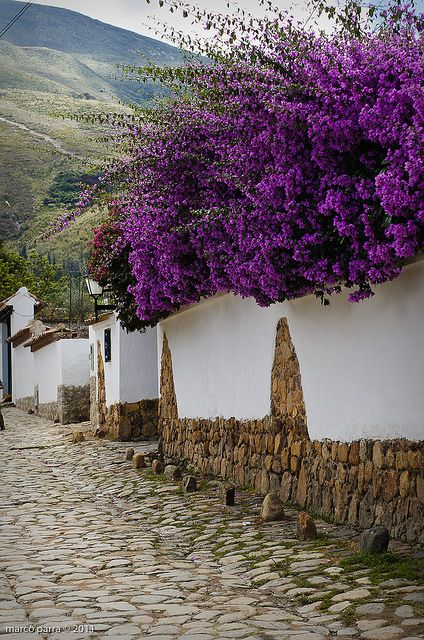 Beautiful street in Villa de Leyva, considered one of the finest colonial villages of Colombia