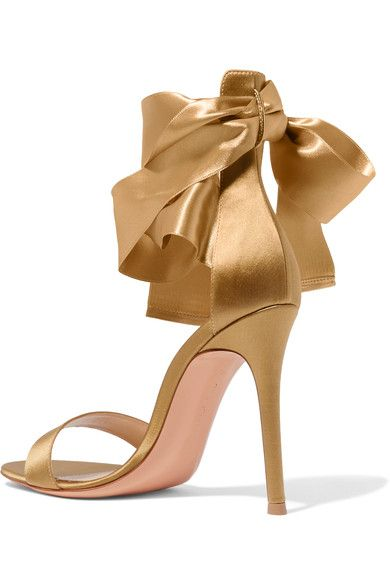 Gianvito Rossi - Satin Sandals - Gold - IT36.5