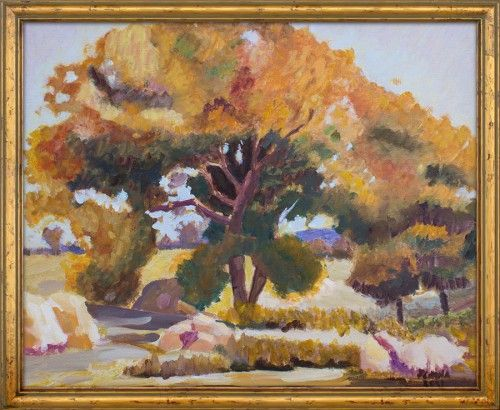 """Autumn landscape painting, reproduction of Stefan Popescu's """"In the shadow of the nut trees"""".    Oil on canvas, 50×60 cm. The painting was created in 2011."""