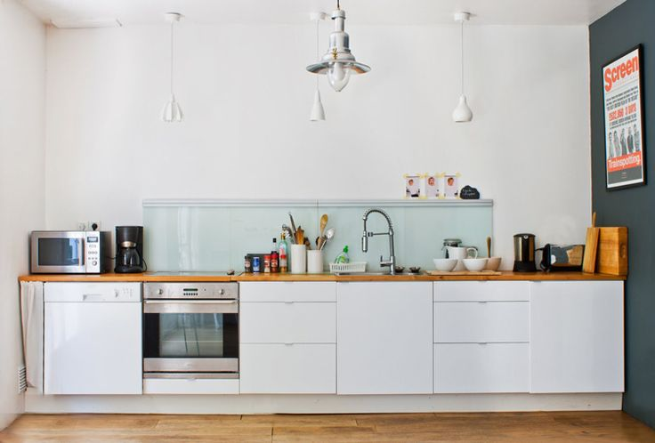 No upper cabinetry replace with a counter to ceiling for Galley kitchen without upper cabinets