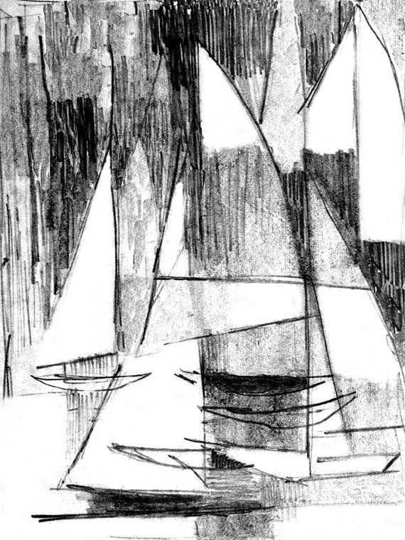 Abstract sailboats print sailboat regatta pencil drawing abstract design pencil art sailboat pencil sketch art modern pencil art 8 x 6