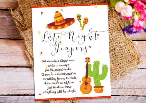 mexican fiesta late night diapers games sign baby shower diapers