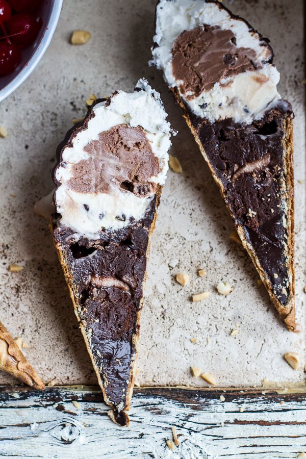 Hot Fudge Brownie and Double Scooped Ice Cream Sundae in a Cone | halfbakedharvest.com