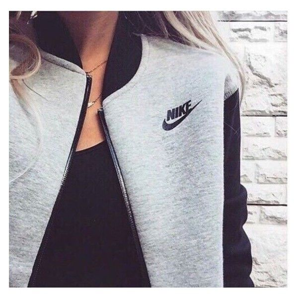 Jacket: nike grey baseball nike grey black sportswear cool girl cute... ❤ liked on Polyvore featuring tops, hoodies, hooded sweatshirt, gray zip hoodie, nike hoodie, gray hoodie and zipper hoodie