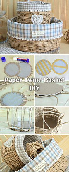 Weaving a Provence Paper Twine  Basket. DIY Tutorial.  http://www.free-tutorial.net/2017/04/paper-twine-basket-tutorial.html