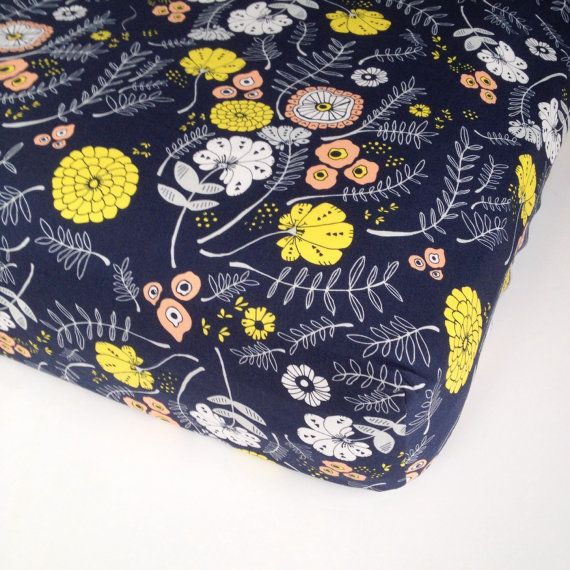 Coral Navy Girls Bedding Fitted Crib Sheets / Mini by Babiease