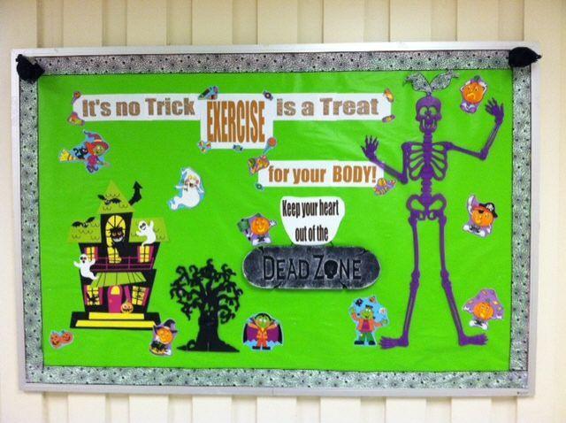 Classroom Pe Ideas ~ Bulletin board with ribbon border halloween work back