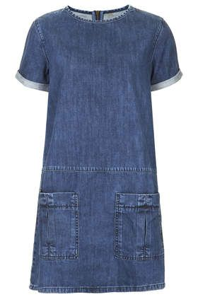 MOTO Utility Denim T-Shirt Dress - What a great dress, suitable for many ages!! (idea: use new denim to create dress..upcycle denim jeans for pockets and trim around sleeve and neckline)