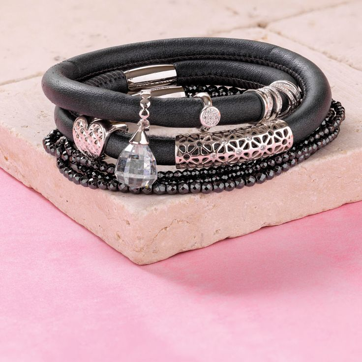 Wild Hearts leather & hematite bracelets. Exclusive to #emmaandroe. Available late November.