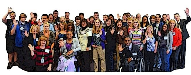 Big group of people; self-advocacy group; colleagues; DPO; disability License: (CC) Attribution - NoDerivs 2.0 Generic (CC BY-ND 2.0) Modified by Emma Q Burns Creator: Fairfax County Title: Fairfax County Public Schools Students and Teachers at Disability Mentoring Day