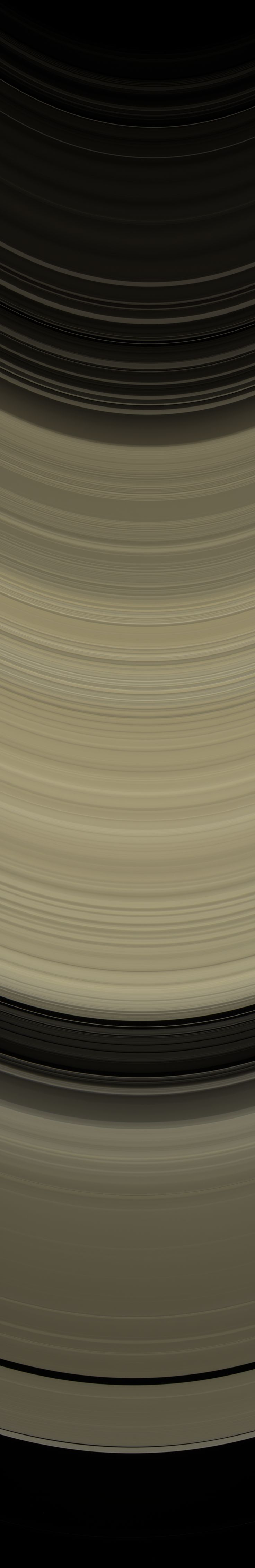 Panorama across the lit side of Saturn's rings, May 10, 2014  Cassini scanned across the full width of Saturn's ring system, from the C ring at top, through the B ring at center, to the A ring at bottom. It took seven narrow-angle camera footprints to cover the breadth of the rings. The images are enlarged 150% from their original resolution.