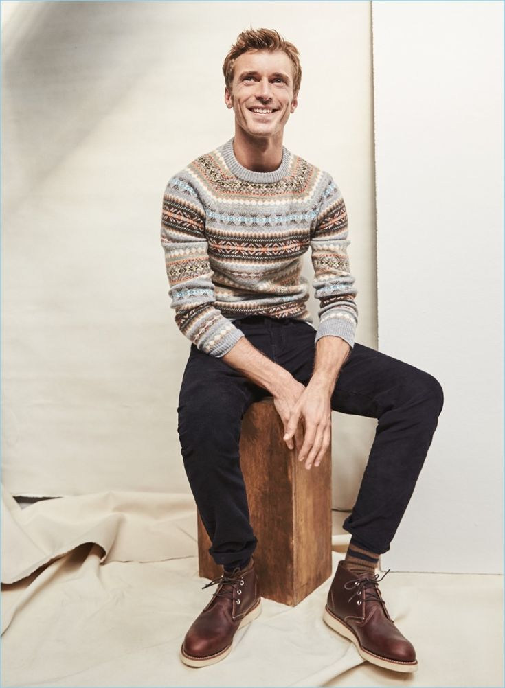 All smiles, Clément Chabernaud dons J.Crew's fairisle sweater. The French model also wears J.Crew 484 slim-fit corduroy pants and Red Wing chukka boots.