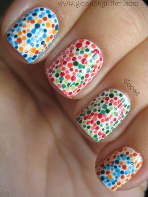 Color Blind Test...clever goose!: Nails Art, Nailart, Nails Design, Polka Dots Nails, Colors Blinds, Nails Polish, Test Nails, Nail Art, Blinds Test