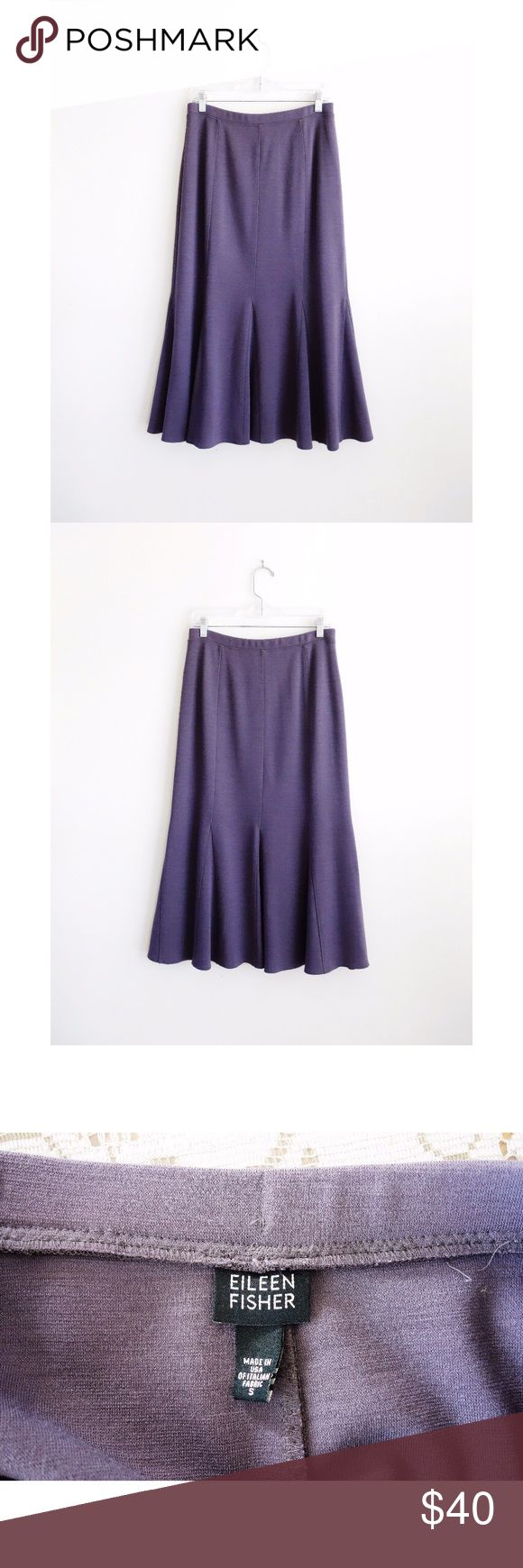 """Eileen Fisher Dusty Mauve Trumpet Midi Skirt sz S Eileen Fisher Dusty Mauve Lavender Purple Trumpet Flared Midi Skirt size Small, gently used--no rips, stains, or holes, made in USA, style S425, SE46WK, stretch waist, paneled princess seams, godet inserts for a fuller skirt at bottom half, longer midi length that will hit at or below mid-calf depending on height, 60% viscose, 40% wool, 15"""" across waist, 19.5"""" across hips, 33"""" waist to hem Eileen Fisher Skirts Midi"""