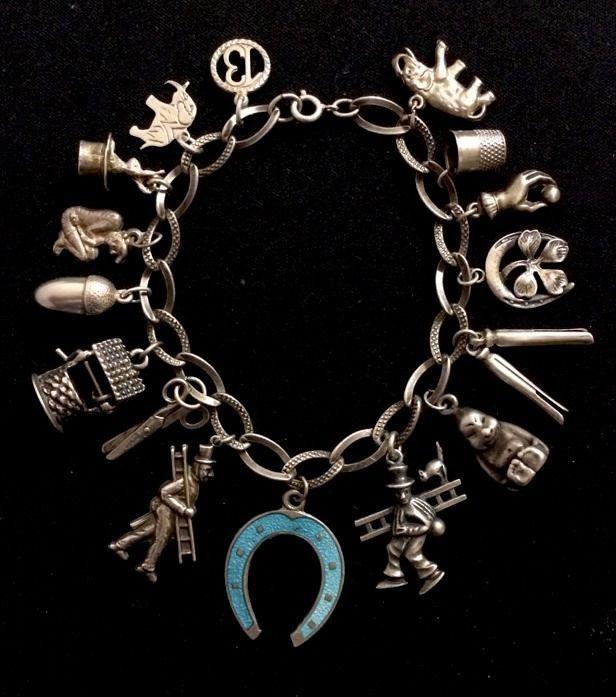 Vintage/Antique • GOOD LUCK SYMBOLS • Sterling Silver Charm Bracelet