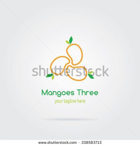 Three Mango Logo Flat Design. Fruit Vector illustration. - stock vector