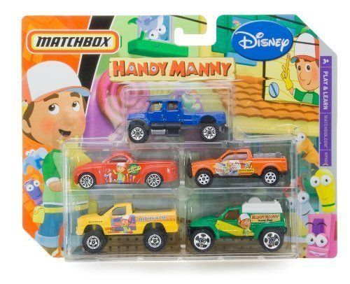 Handy Manny Disney Matchbox 5 Packs Cars by Matel. $19.00. Drive with your friends!. Learning through play!. For age 3 and up. Handy Manny Disney Matchbox 5 Packs Cars.. Save 37%!