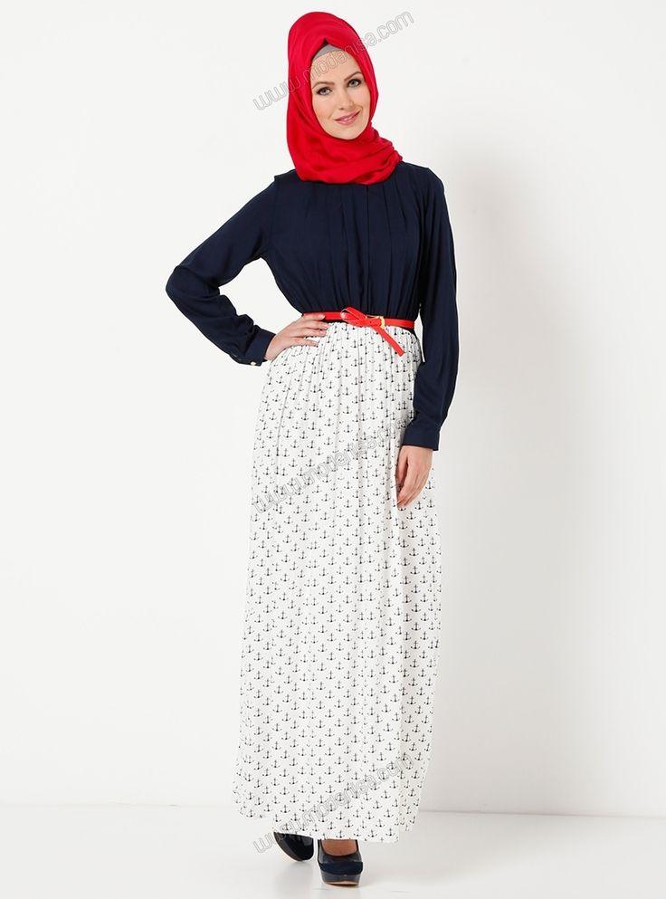 Çapa Desenli Kemerli Elbise 5121 - Beyaz - Tavin