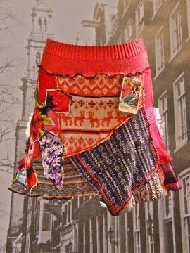 patchwork skirt - avec des morceaux de pulls