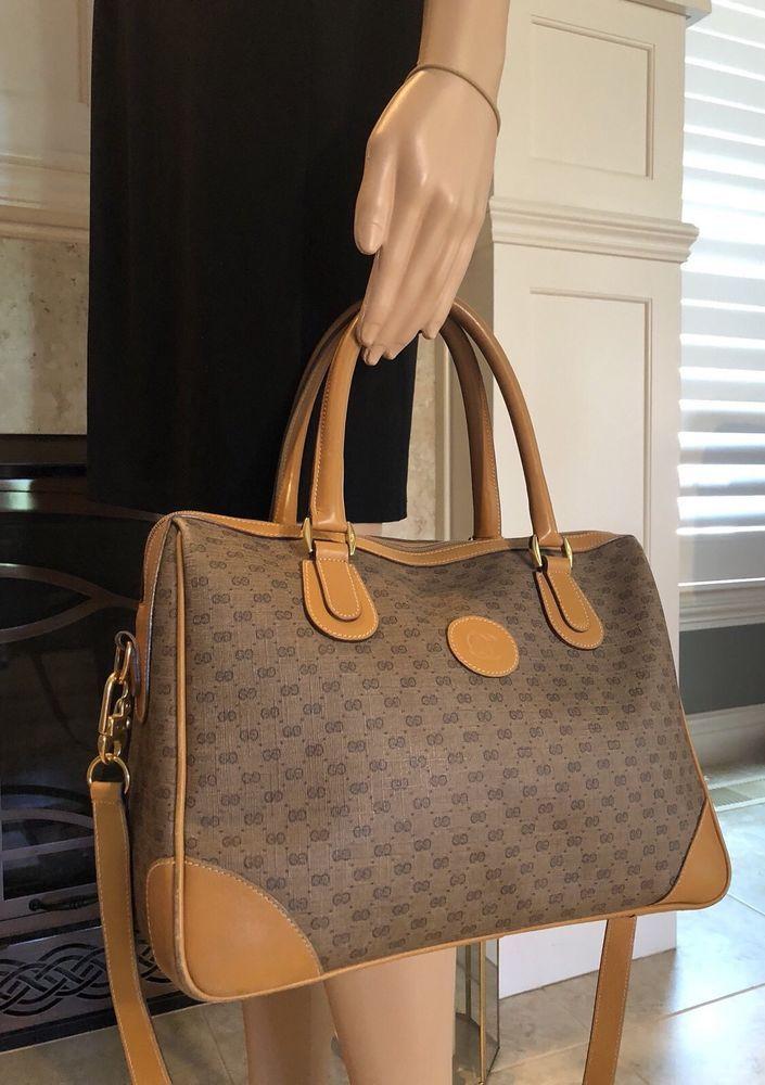 Vintage Tan Leather GUCCI GG Monogram Doctor Boston 2wy Shoulder HandBag  Satchel 8189c91945115