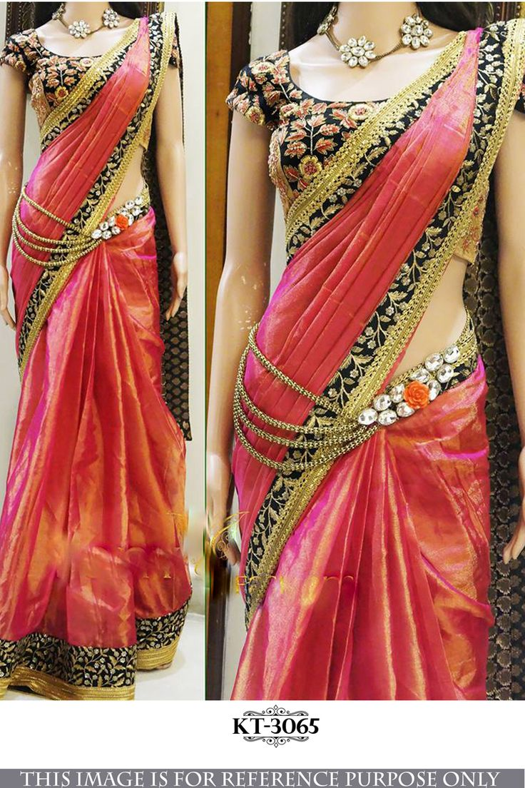 Stylish Paper Silk Designer Saree With Red N Orange Shade Color