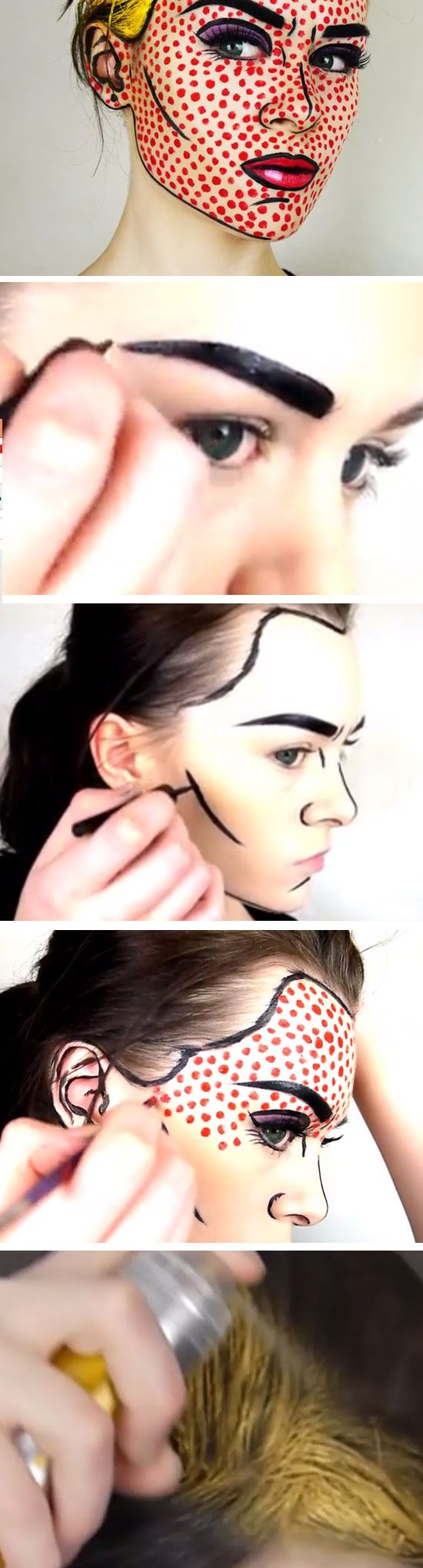 Pop Art Make-up | Click Pic for 26 DIY Halloween Makeup Ideas for Women | DIY Halloween Dress Up Ideas for Adults
