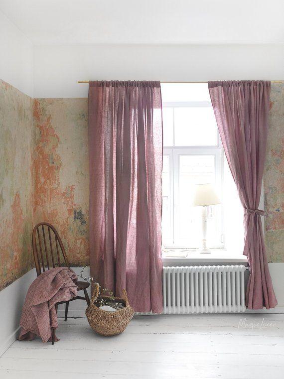 Rod Pocket Linen Curtain Panel Semi Sheer Linen Drapes In